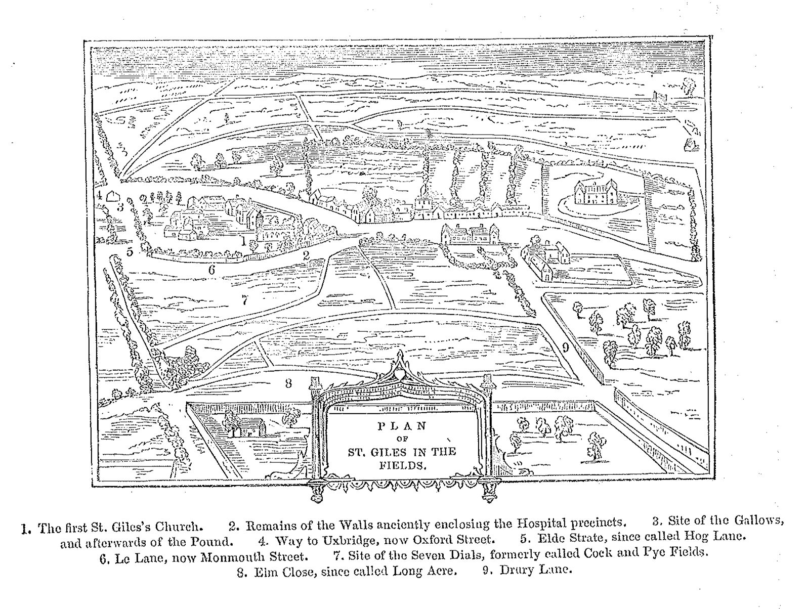 Plan of St Giles in the Fields - illustration from Knight's 'LONDON' 1842