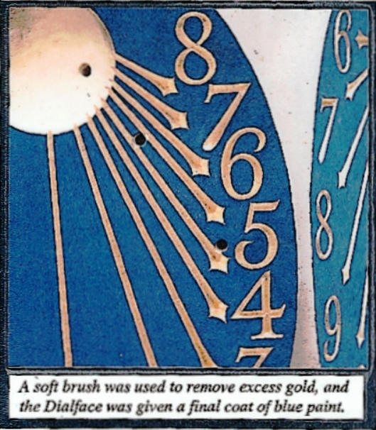 Soft brush used to remove excess gold and fina blue paint layer