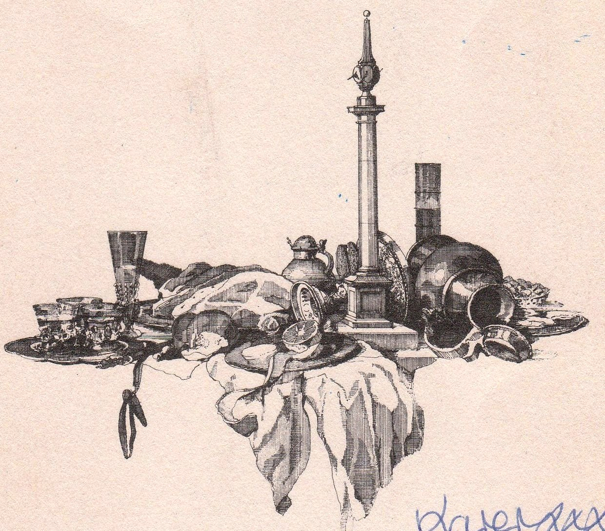 Foundation Dinner Card, drawn by trustee Paul Draper.