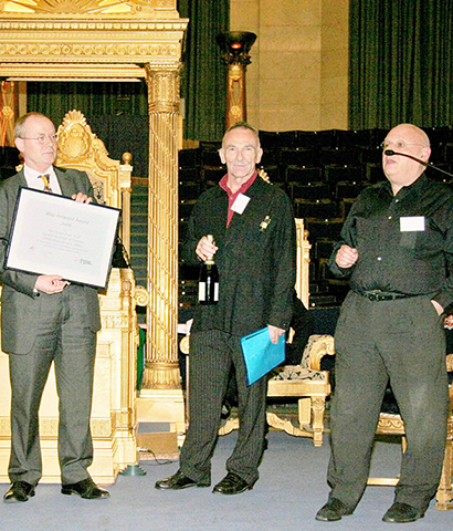 2006 Way Forward in Covent Garden Awards::2006 Way Forward in Covent Garden Award, awarded by Covent Garden Business Forum for the works in Monmouth Street. (L to R) - Tom Welton, Director Shaftesbury PLC; Cllr Keith Moffitt, Leader Camden Council; Alain L'Hermitte, Mon Plaisir Restaurant; David Bieda, Trust Chairman at the United Grand Lodge, Covent Garden.