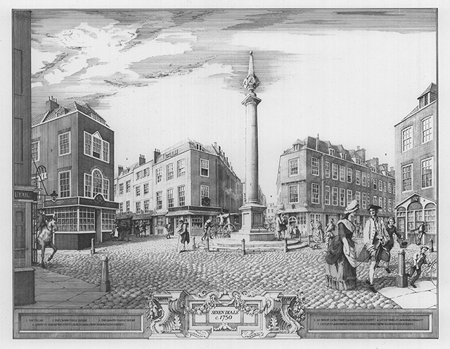 Seven Dials c.1750. Limited edition collotype by trusee Paul Draper after William Hodges.