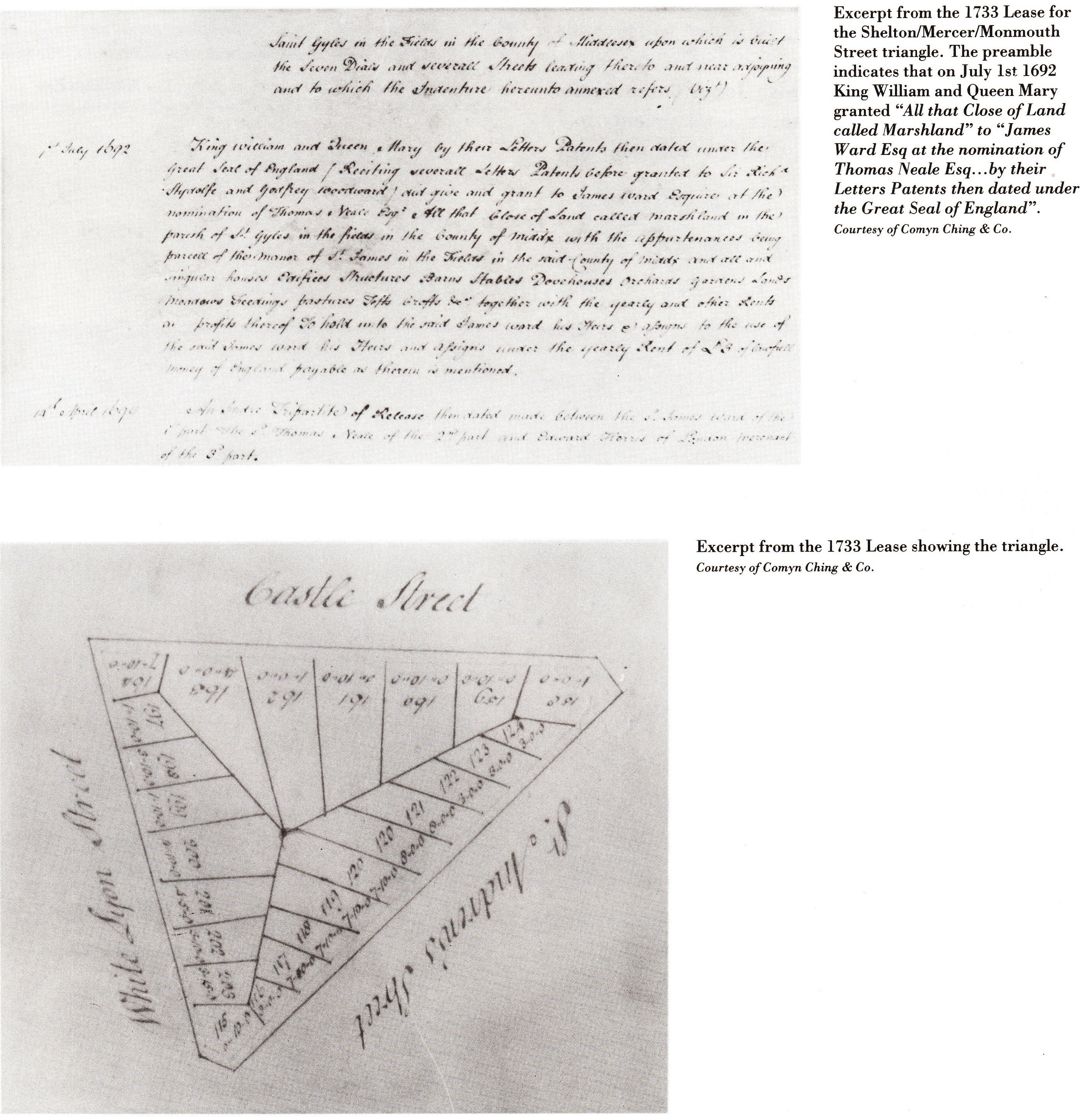 The Comyn Ching Triangle lease granted in 1692 by King William and Queen Mary to James Ward on the nomination of Thomas Neale.