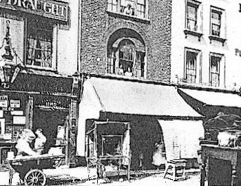 Earlham Street (West) c. 1890, showing one of Seven Dials' many public houses with its decorative lamp bracket.