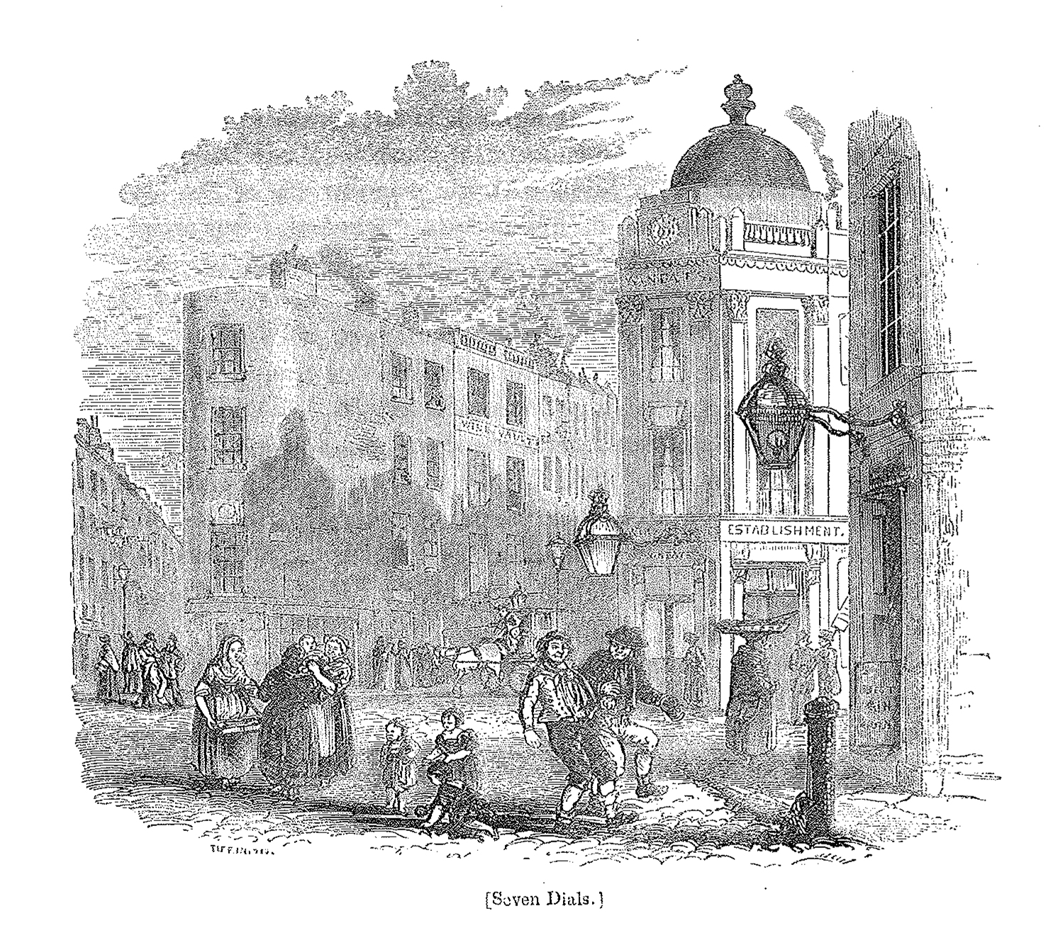 'Seven Dials' - Illustration from Knight's 'LONDON' 1842