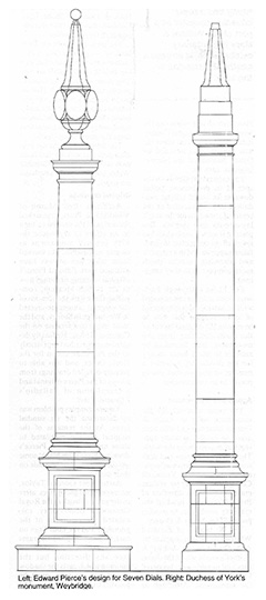 Left: Edward Pierce's design for Seven Dials. Right: Duchess of York's Monument, Weybridge.