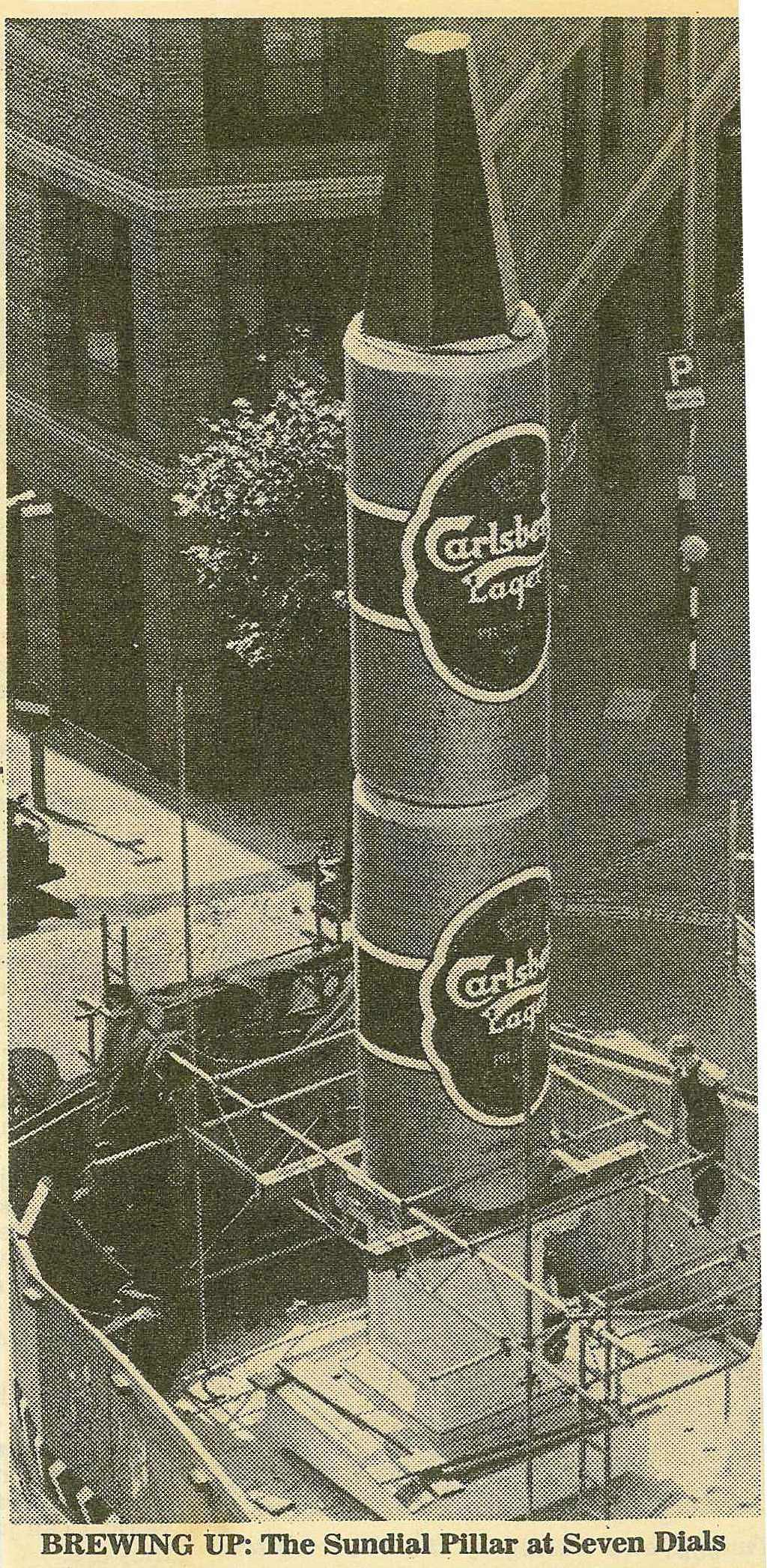 Constructing the giant lager cans to cover the pilar before unveiling.