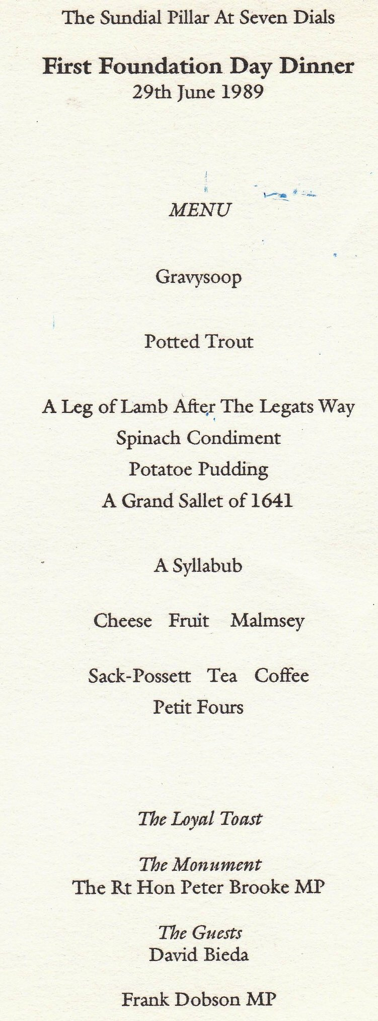 Foundation Dinner, Eighteenth century menu and order.