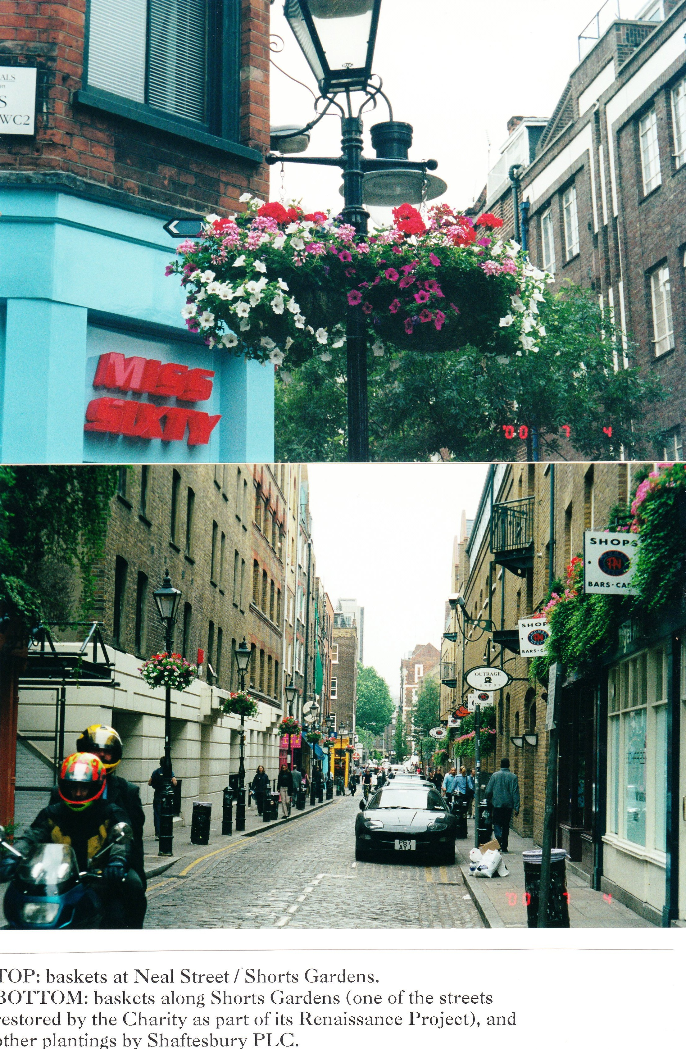 Baskets planted by the children, in Neal Street and Short's Gardens.