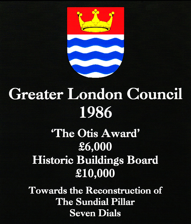 1986 Otis Awards::These awards were made by the Greater London Council at the end of its life to assist the Trust in the first project of its kind in London since Nelson's Column in the 1840's and in recognition of the Trust's unique endeavour.