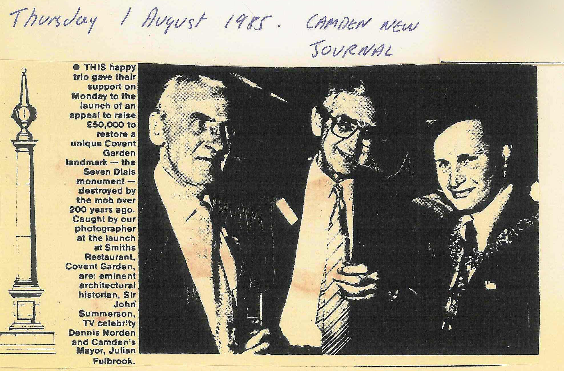 01 Aug. 1985 – Camden New Journal: This happy trio gave their support.