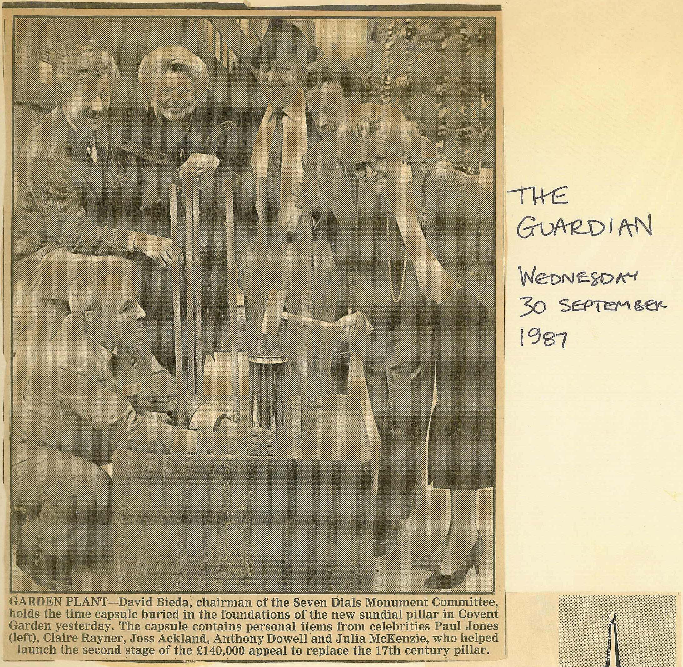30 Sept. 1987 – Guardian: Garden Plant - planting the time capsule containing personal items.