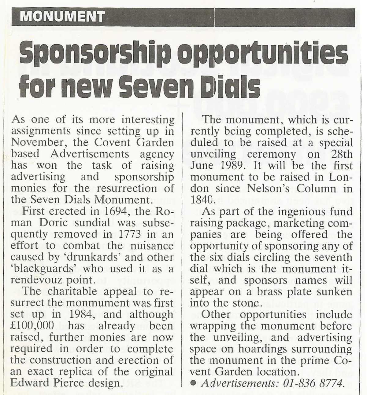 1 Mar. 1989 – Sponsorship News: Sponsorship opportunities for new Seven Dials.