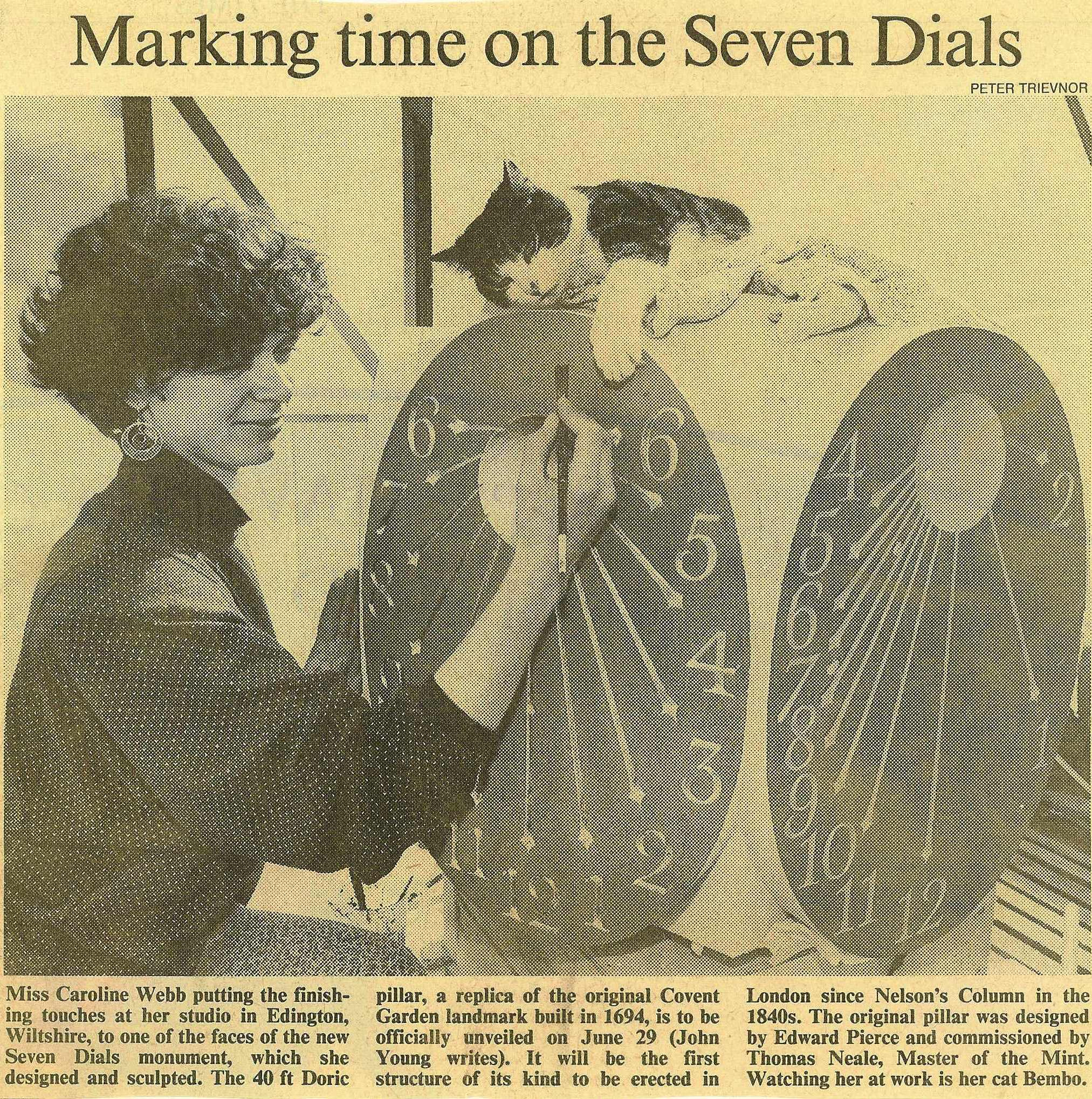 3 May 1989 – The Times: Caroline Webb marking time on the Seven Dials.