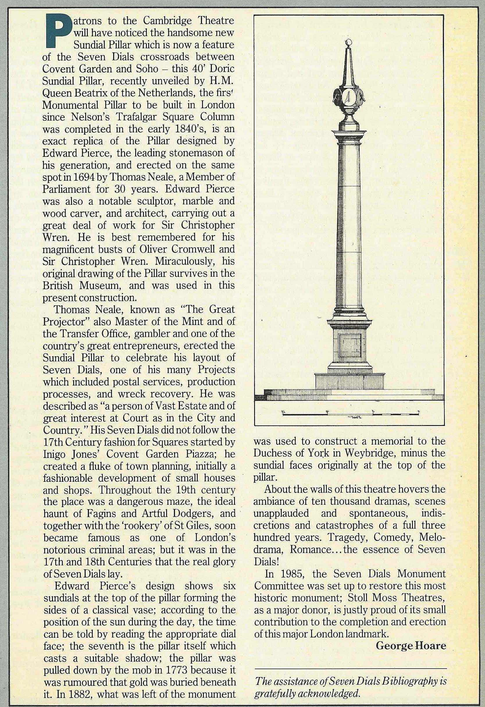 1 Oct. 1989 – Stoll Moss Theatres: A handsome new sundial pillar, symbol of the essence of Seven Dials.