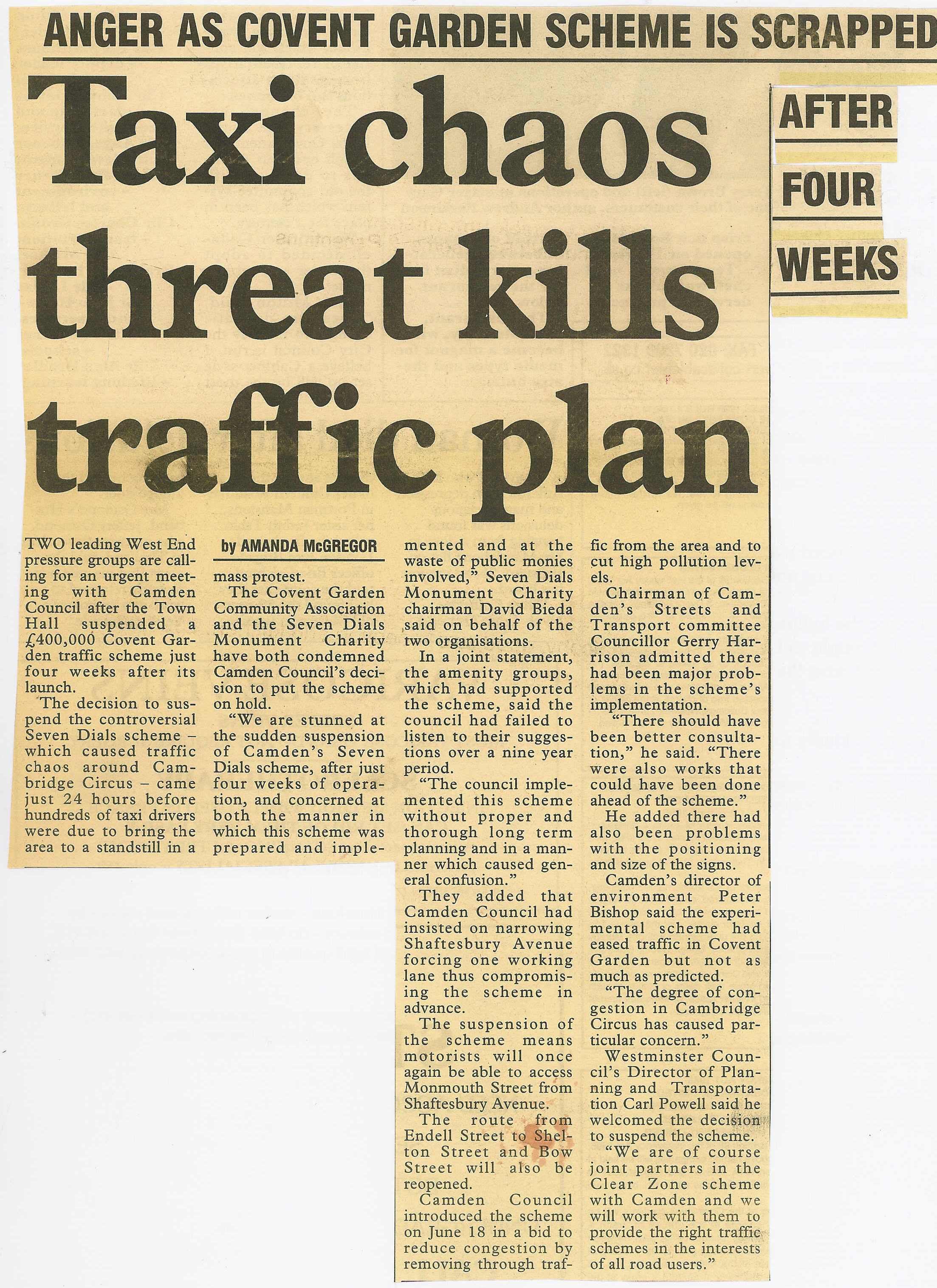 27 July 1991 – West End Extra: Taxi chaos threat kills traffic plan, anger as Covent Garden scheme is scrapped.