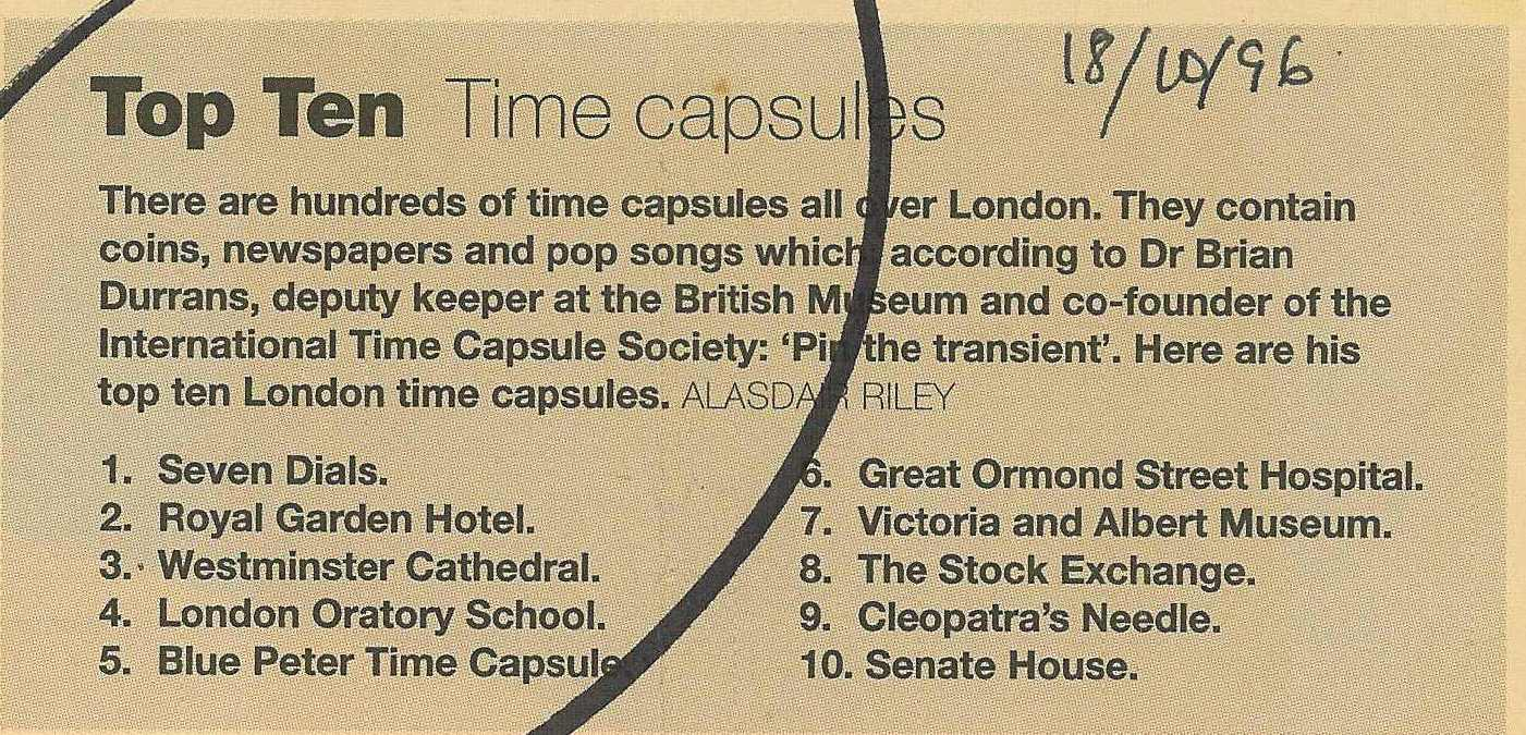 8 Oct 1996 – Evening Standard Magazine: Top 10 Time capsules.