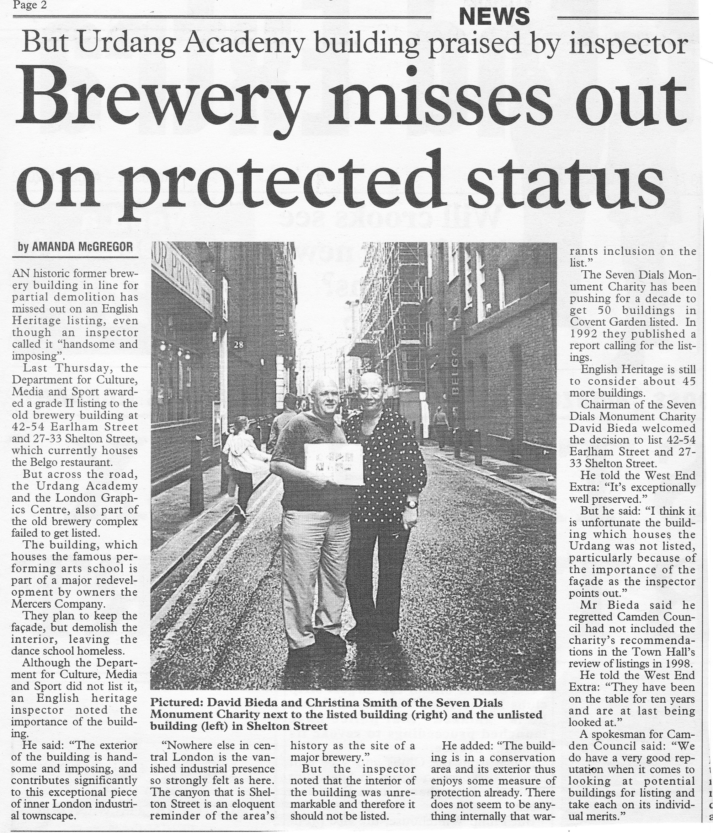 August 2002 – West End Extra: Brewery misses out on protected status.