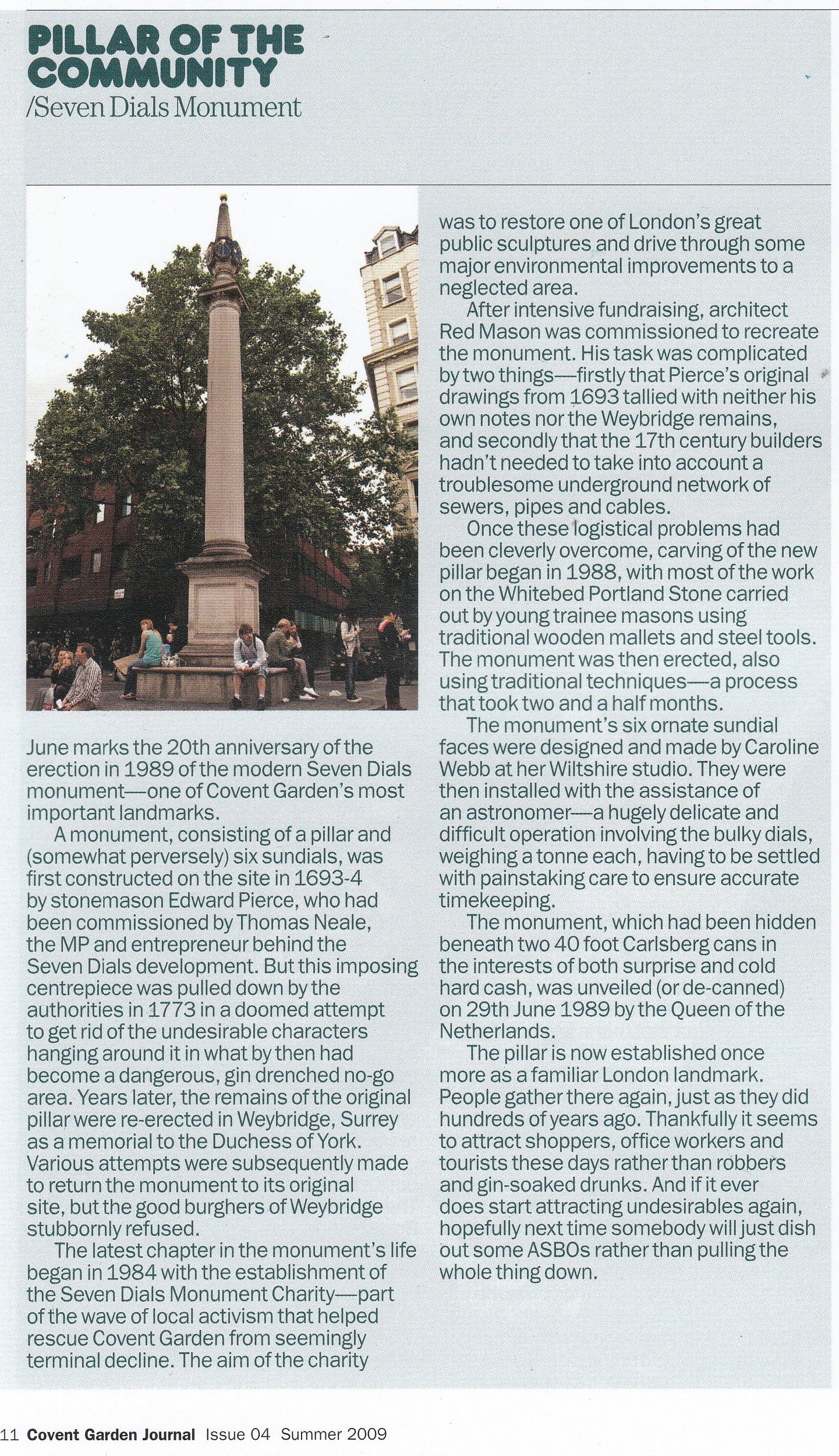 1 July 2009 – Covent Garden Journal: Pillar of the community, Seven Dials monument.