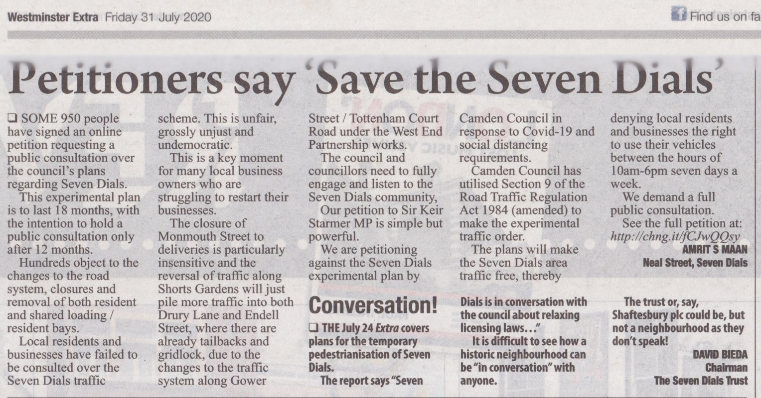 31 July 2020 – Westminster Extra: Petitioners say 'Save the Seven Dials'.