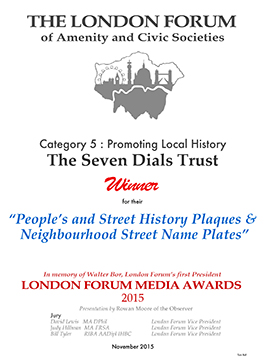 An absolutely brilliant and wide ranging scheme — Judges. London Forum Media Award for Promoting Local History