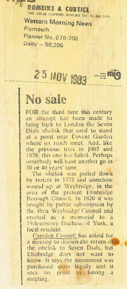 1983—No Sale re Weybridge