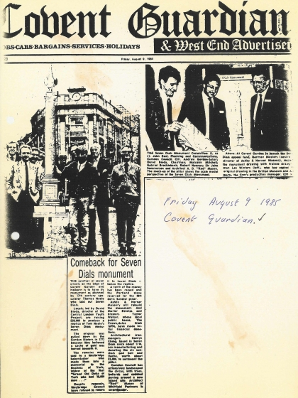 1985—Comeback for Seven Dials monument