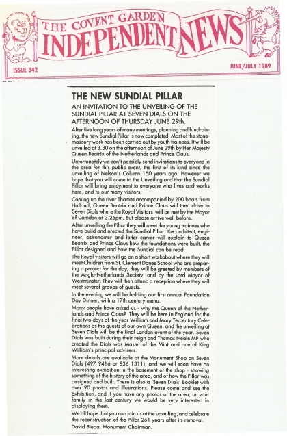 1989—The new sundial pillar
